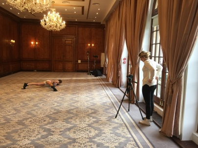 hedsor-house-photoshoot-camera-tripod-exercise-hotpants-hot-pants-chandeliers-carpet-drapes-long-curtains-